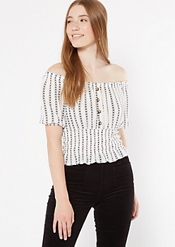 White Ikat Print Off The Shoulder Smocked Top