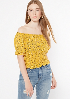 Mustard Floral Print Off The Shoulder Smocked Top