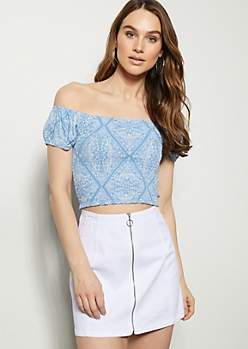 Blue Paisley Print Bubble Sleeve Crop Top