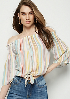 Pastel Striped Smocked Off The Shoulder Tie Blouse