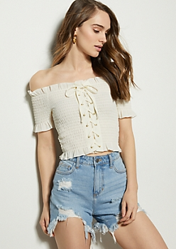 Ivory Off The Shoulder Lace Up Smocked Crop Top