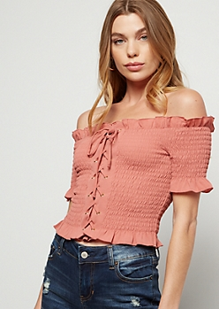 Pink Off The Shoulder Lace Up Smocked Crop Top