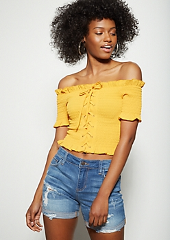 Mustard Off The Shoulder Lace Up Smocked Crop Top