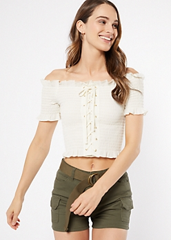White Off The Shoulder Lace Up Smocked Crop Top