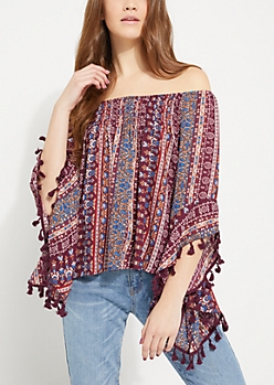 Boho Tasseled Bell Sleeve Off Shoulder Top