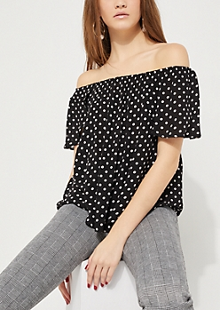 Polka Dotted Off Shoulder Flutter Top