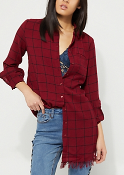 Burgundy Plaid Print Longline Frayed Top