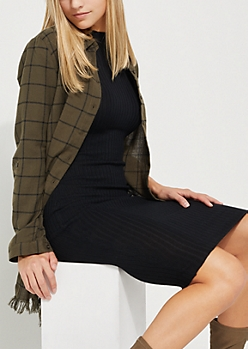 Olive Plaid Print Longline Frayed Top