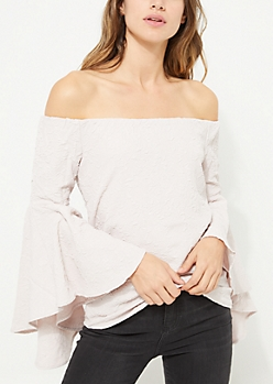 Ivory Off Shoulder Crinkled Blouse