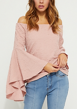 Pink Off Shoulder Crinkled Blouse