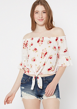 Ivory Floral Print Off The Shoulder Tie Front Top