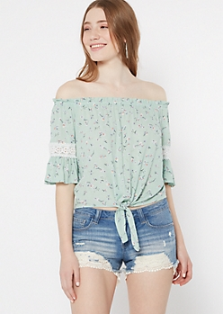 Green Floral Print Off The Shoulder Tie Front Top