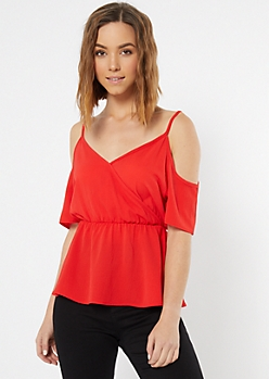 Red Cold Shoulder Flounce Blouse
