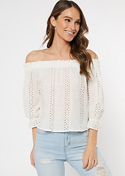 White Eyelet Off The Shoulder Top