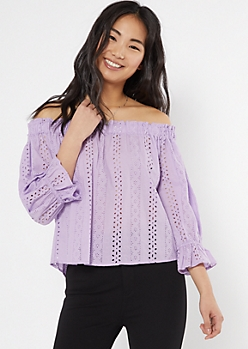 Lavender Eyelet Off The Shoulder Top