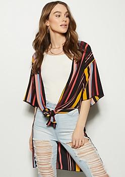 Black Striped High Low Side Slit Kimono