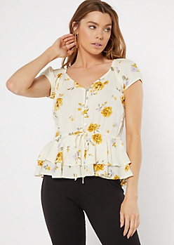 Ivory Ditsy Floral Print Ruffle Button Top