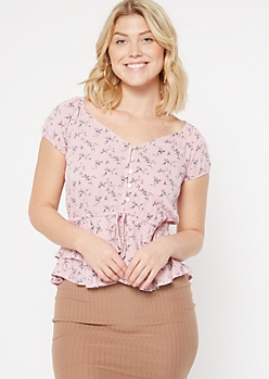 Pink Ditsy Floral Print Ruffle Button Top