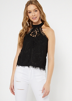 Black Eyelash Lace Crochet Halter Top