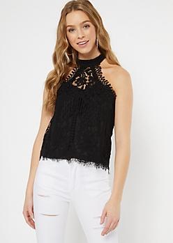 Black Eyelash Lace Crochet Halter Top