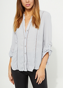 Gray Eyelet Embroidery Blouse