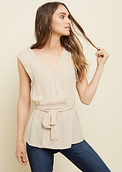 Cream Cinched Wrap Blouse
