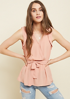 Pink Cinched Wrap Blouse