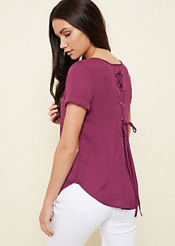 Dark Purple Lace Up Rolleve Sleeve Blouse