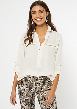Ivory Zip Pocket Button Front Blouse