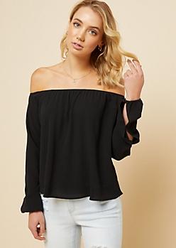 Black Off The Shoulder Split Sleeve Top