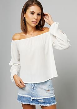 White Off The Shoulder Split Sleeve Top