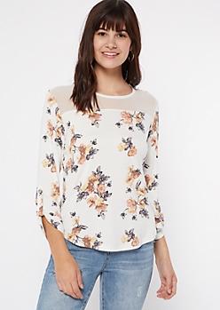 Ivory Floral Print Button Shoulder Top