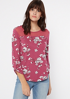 Pink Floral Print Button Shoulder Top