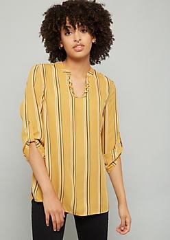 Mustard Striped Lace Up Neck Blouse