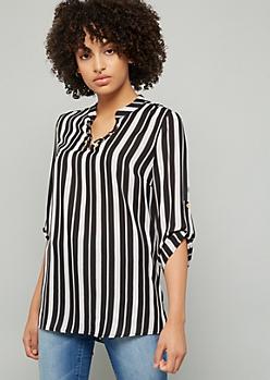Black Striped Lace Up Neck Blouse