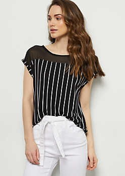Black Striped Button Shoulders Tee