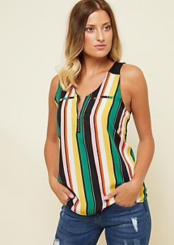Black Striped Pattern Zipper Neck Sleeveless Blouse
