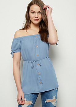 Blue Off The Shoulder Button Down Top
