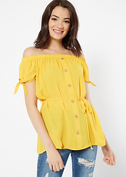 Mustard Off The Shoulder Button Down Top