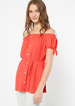Neon Coral Off The Shoulder Button Down Top