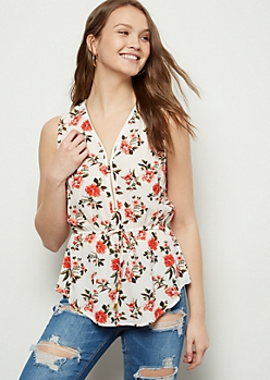 Ivory Floral Print Zippered Neck Cinched Waist Tank Top