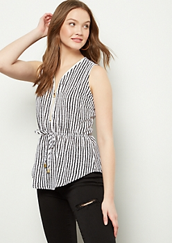 Navy Striped Zippered Neck Cinched Waist Tank Top