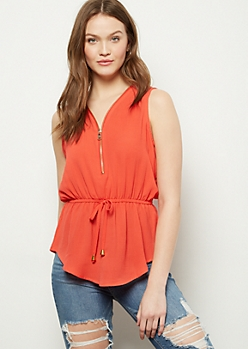Red Zippered Neck Cinched Waist Tank Top