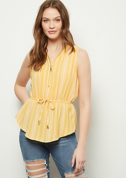Yellow Striped Zippered Neck Cinched Waist Tank Top