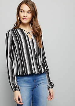 Black Striped Crisscross Surplice Top
