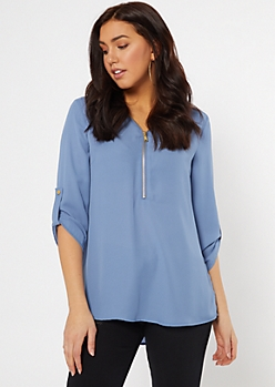 Blue Zip Pocket Button Front Blouse