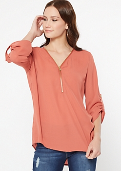Dusty Coral Zip Front Blouse