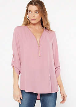Dusty Pink Zip Front Blouse