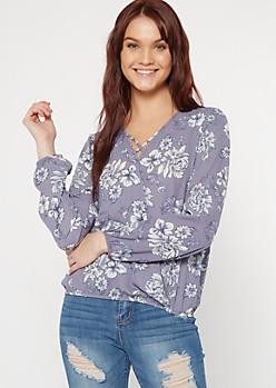 Blue Floral Print X Front Blouse