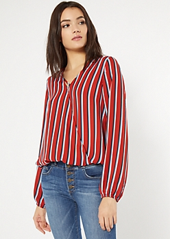 Red Striped X Front Blouse
